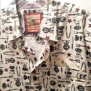 NWT Grill master button down short sleeve shirt L